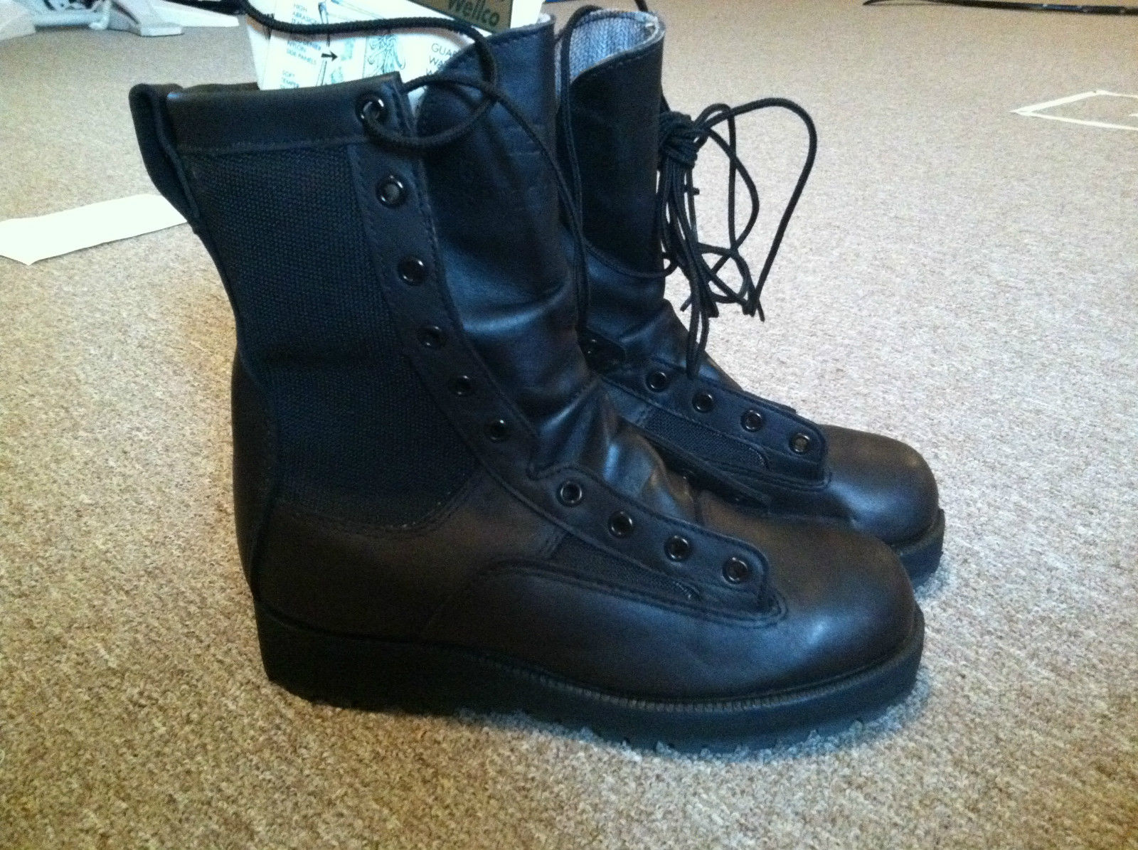Wellco Black Combat Boots Infantry NWT 5W, Military