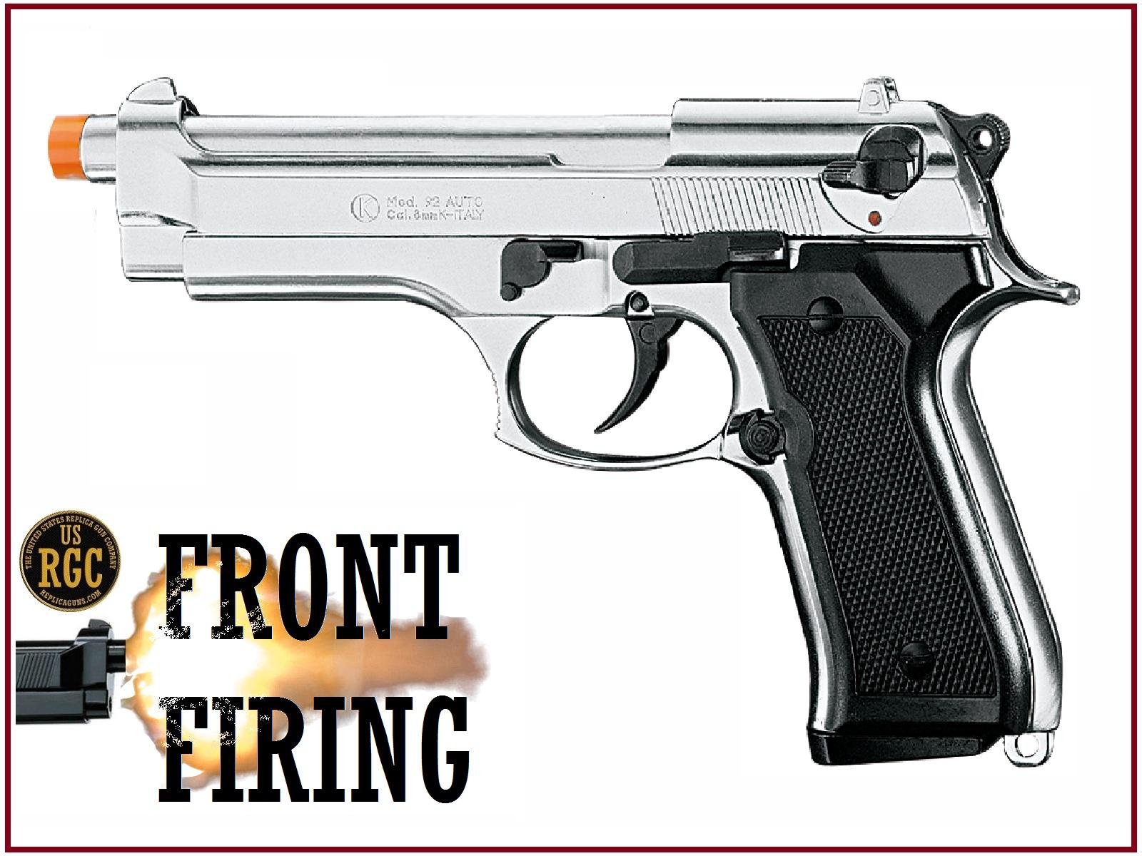 FRONT FIRE 9mm Blank Gun Kimar Beretta 92 SBF Nickel Pistol