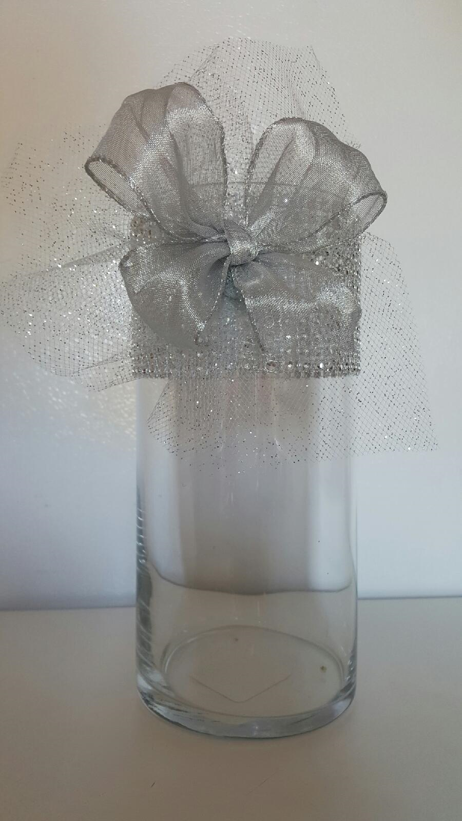 Rhinestone mesh organza with ribbon wedding centerpiece for Vase plat centre de table