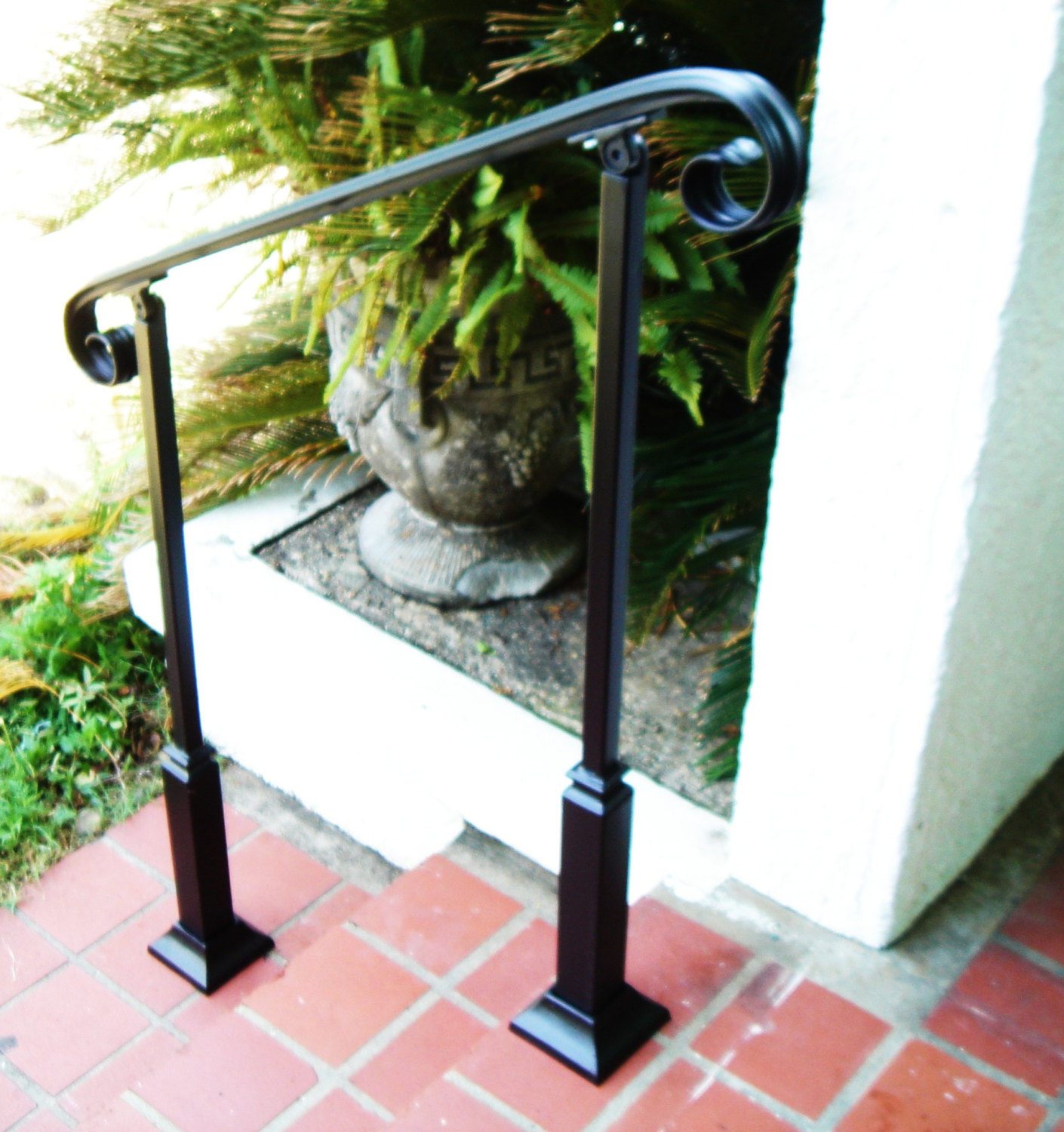 5 ft wrought iron stair hand rail 2 decorative posts - Exterior wrought iron handrails for steps ...