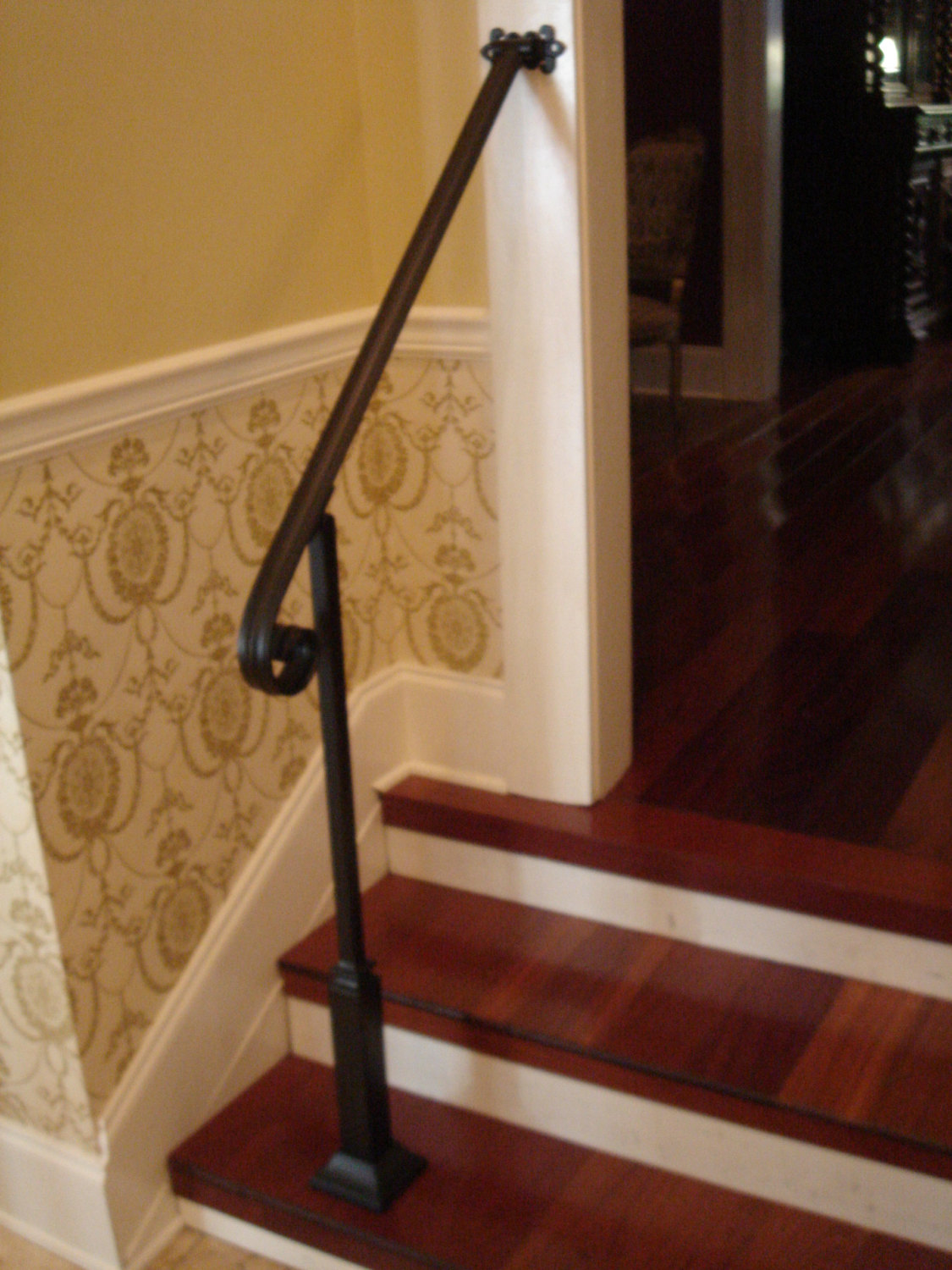 4 Ft Wrought Iron Stair Hand Rail Wall/Post Mount Bracket U0026 Decorative Post  Interior Or Exterior