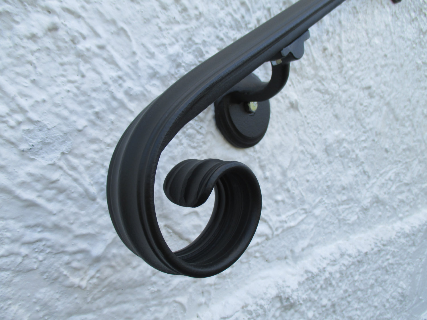 12 Ft Wrought Iron Wall Mount Hand Rail Elegant Scroll Design Interior Or  Exterior