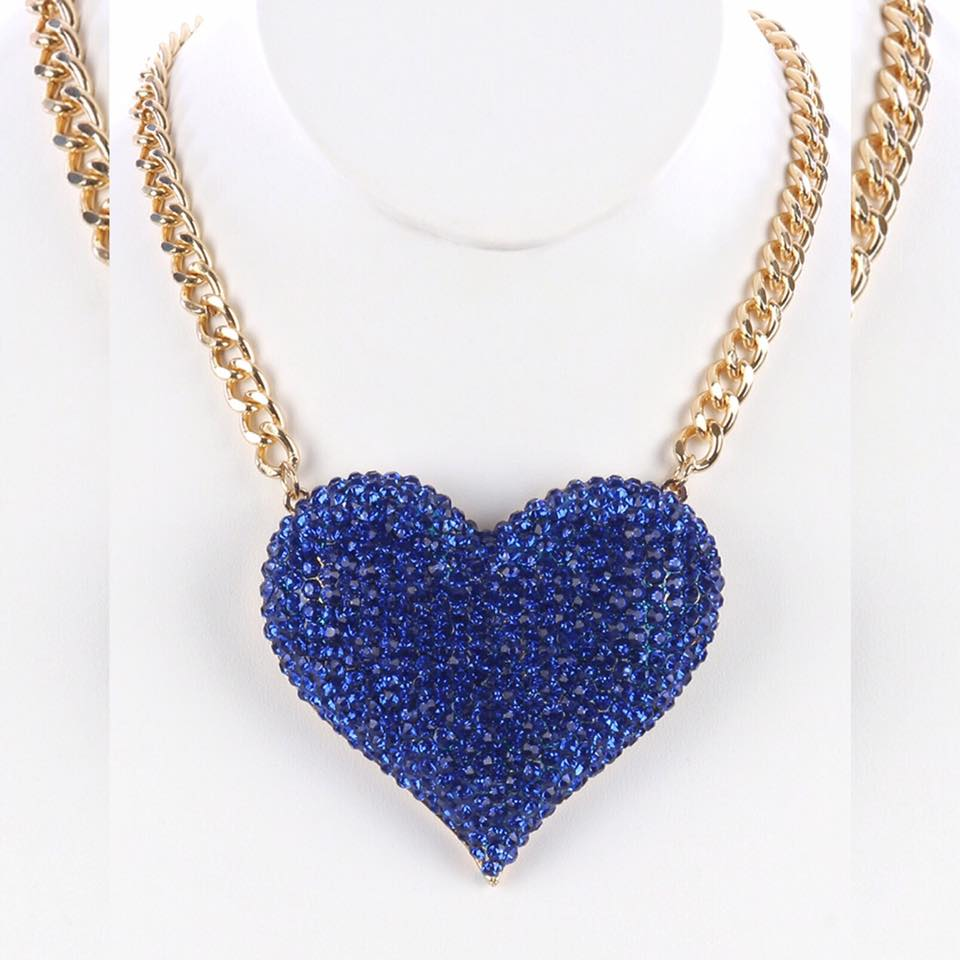 Blue Heart Diamond Necklace - Fashion Passion Collections