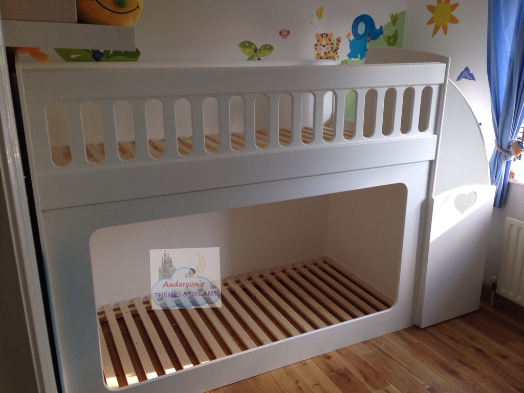 Bunk beds with drawer stairs stair gate attached andersons themes and dreams - Bunk bed with drawer steps ...