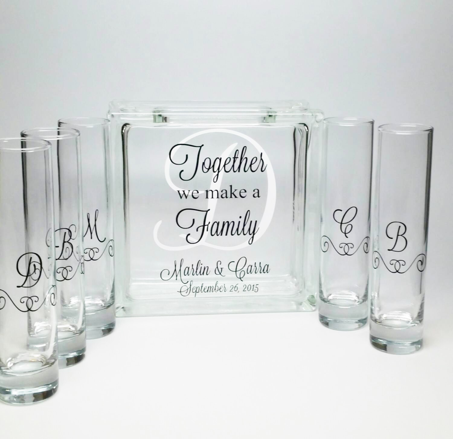 Blended family unity sand ceremony set with monogram the dream blended family unity sand ceremony set together we make a family with monogram reviewsmspy