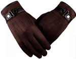 Brown Unisex Soft Leather Gloves.