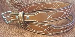 "In-Stock 1 1/2"" Taper to 1"" Fancy Stitch Carry Belt Size 39 Saddle Brown"