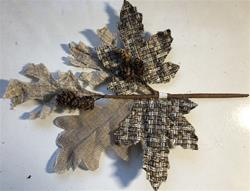 "12"" Burlap Leaf/ tiny pine cone spray"