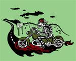 Archival Paper Print- Unframed 'Biker Guy Green'