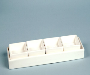Rectangle White Ceramic Condiment Tray 3 5 Quot X11 Quot With 4