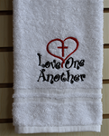 Love One Another Cross and Heart - Hand towel