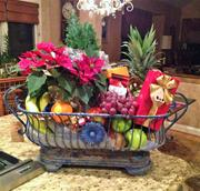 DELUXE FRUIT AND  PLANT BLUE IRON PLANTER BASKET (LG)
