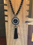 Blank Onyx and Hematite Beaded Necklace- 18""
