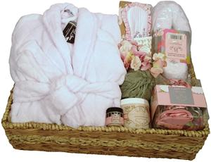 DELUXE HOTEL SPA GIFT BASKET WITH VELOUR ROBE XL