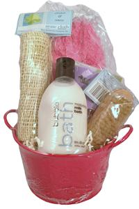 SPA GIFT BASKET-SHAGGY SLIPPERS TIN