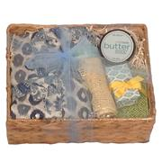 SPA GIFT BASKET-BLUE IKAT ROBE