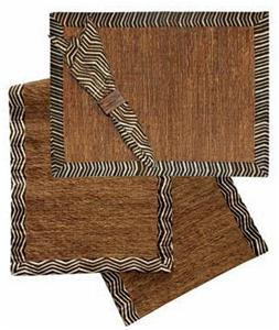VETIVER PLACEMAT SET-CHOCOLATE TRIMMED