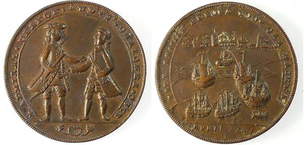 1741, Great Britain. ADMIRAL VERNON - CARTEGENA TAKEN CAvo 3-D