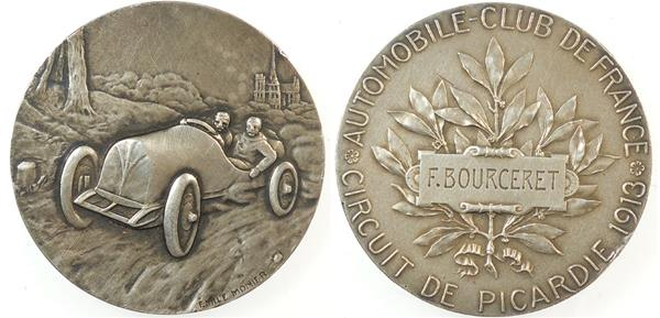 Automobiles: AUTOMOBILE CLUB DE FRANCE – CIRCUIT DE PICARDIE. By Monier Silver 50mm.