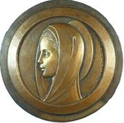 Amengual: religion.VIRGIN MARY Uniface cast bronze studio model.