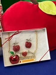 Fashion I Love Childcare Necklace With Apple Earrings