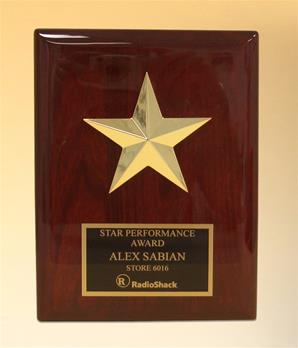Star Casting With Gabled Points Goldtone Finish On Rosewood Piano Finish Plaque