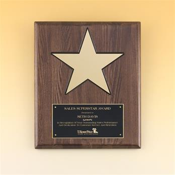 "Gold Aluminum Star 8"" On Walnut Stained Piano Finish Board With Black Recessed Area"