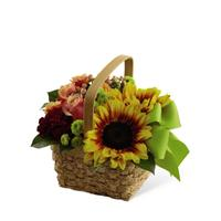 Fall Basket Arrangement with Ribbon