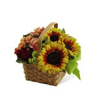 Fall Basket Arrangement with Ribbon Deluxe