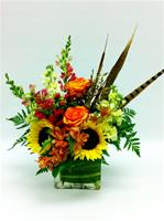 Cube vase of Fall flowers
