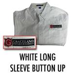 White Long Sleeve Button Up Collared Shirt