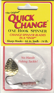 1 HOOK SPINNER W/#2 COLORADO BLADE OR #3 INDIANA BLADE