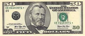 $50 Bills: High-Grade (for close ups) 1-sided, Full-Print, Old-Style, $5K
