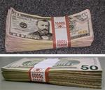 $50 Bills Distressed: $5K stack. Our most realistic hand-made Money! Full Print, Front & Back, Standard-Grade, New Style