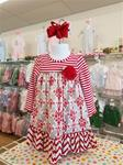 0015 Red/White stripe sleeve dress striped dress