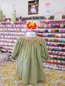 00004 Girls Bishop Pimpkins, Hand smocked and Hand Embroidered