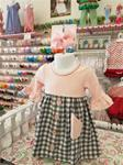 00033AAA10A Girls Pink and Grey Plaid Dress