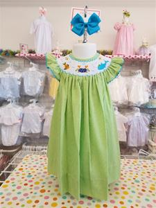 00045A Sea Creatures Hand Smocked Bishop Dress