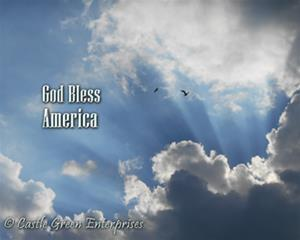 Rays of sunlight come through white clouds with birds flying among them and silver letters that say 'God bless America'
