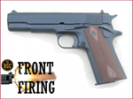 FRONT FIRE: 9mm Blank Gun: Kimar 1911 Blued w/Walnut DD Grips