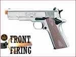 FRONT FIRE: 9mm Blank Gun: Kimar 1911 Nickel w/Walnut DD Grips