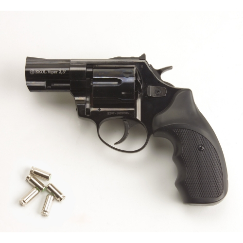 FRONT FIRE: 9mm Blank Gun: S&W Blued 4.5 inch Barrel