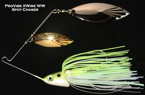 Pro Vibe XWire Spinnerbait - W/W, 3/8 oz, Spot Chaser