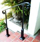 3 Ft Wrought Iron Stair Hand Rail & 2 Decorative Posts Interior or Exterior