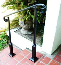 6 Ft Wrought Iron Stair Hand Rail & 2 Decorative Posts Interior or Exterior