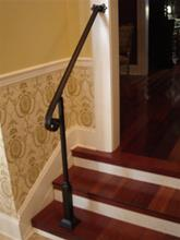 6 Ft Wrought Iron  Stair Hand Rail Wall/Post Mount Bracket & Decorative Post Interior or Exterior