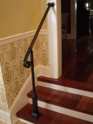 4 Ft Wrought Iron Stair Hand Rail Wall/Post Mount Bracket & Decorative Post Interior or Exterior