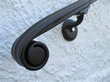 "7 Ft 10"" Wrought Iron Wall Mount Hand Rail Classical Volute Design Interior or Exterior"