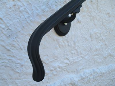 13 Ft Wrought Iron Wall Mount Hand Rail Lambs Tongue Design Interior or Exterior