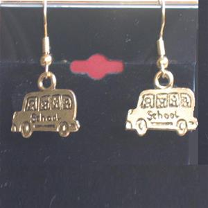 Gold Plated 2D School Bus Earrings